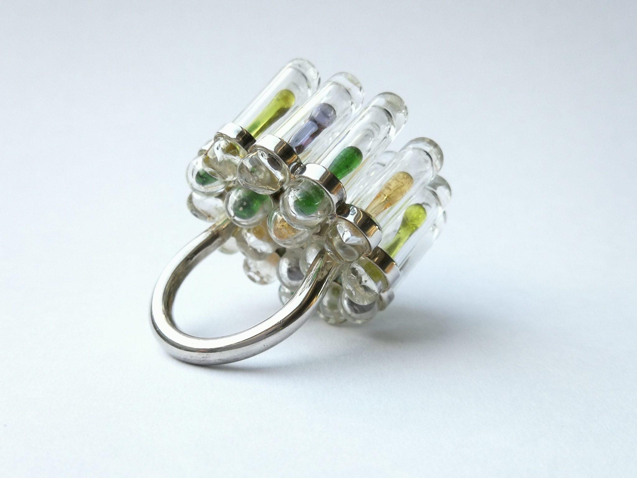 bague verre argent /bijoux contemporains